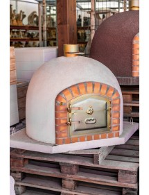 Horno de leña 120x120cm Blanco, corte transversal