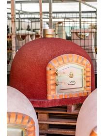 Horno de leña 100x100cm Rojo, corte transversal
