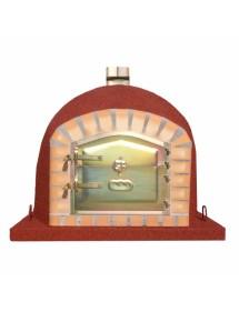 Horno de leña 100x100cm Rojo, corte cuadrado