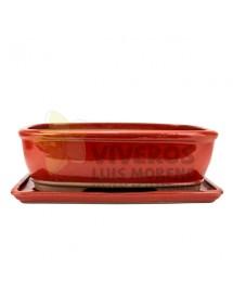 Maceta Esmaltada Roja con plato 33cm
