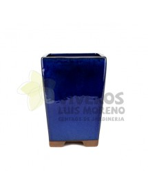 Maceta Esmaltada Azul Cascada 19cm