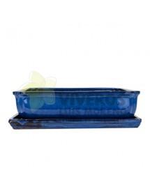 Maceta Esmaltada Azul Rectangular con plato 37cm