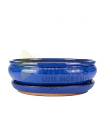 Maceta Esmaltada Azul Ovalada con plato 29.5cm