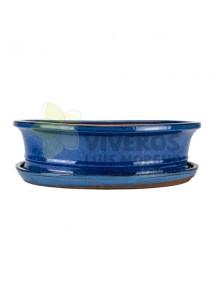 Maceta Esmaltada Azul Ovalada con plato 35.5cm