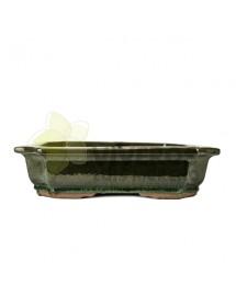 Maceta Esmaltada Verde oscura Rectangular 40cm