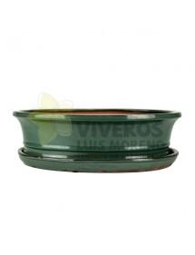 Maceta Esmaltada Verde Ovalada con plato 35cm