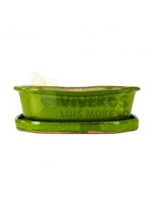 Maceta Esmaltada Rectangular Verde chillón con plato 28cm
