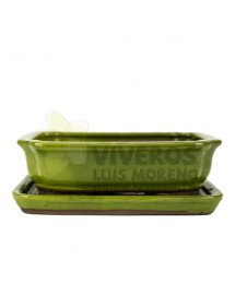 Maceta Esmaltada Rectangular Verde chillón con plato 16cm