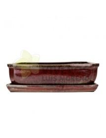 Maceta Esmaltada Roja Rectangular grande con plato 36cm