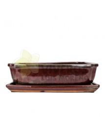 Maceta Esmaltada Roja Rectangular mediana con plato 31cm