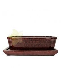 Maceta Esmaltada Roja Rectangular pequeña con plato 22cm