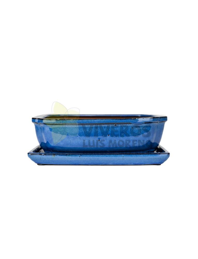 Maceta Esmaltada Azul Rectangular mediana con plato 27cm