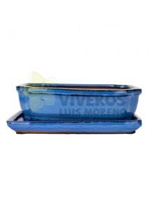 Maceta Esmaltada Azul Rectangular pequeña con plato 22cm