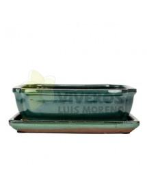Maceta Esmaltada Verde Rectangular pequeña con plato 22cm