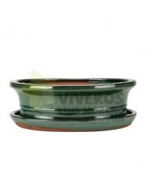 Maceta Esmaltada Verde Ovalada pequeña con plato 21cm