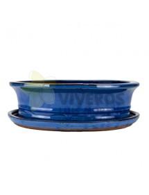 Maceta Esmaltada Azul Ovalada mediana con plato 31cm