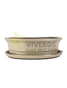 Maceta Esmaltada Crema Ovalada mediana con plato 31cm