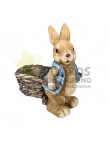 Cubre macetas Conejo con Carreta 1