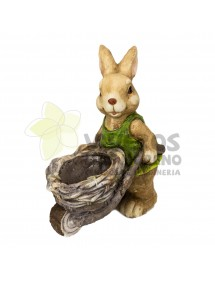 Cubre macetas Conejo con Carreta 2