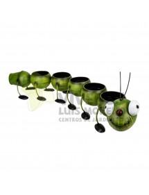 Cubre macetas Gusano verde metálico